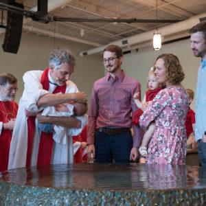 Infant being baptized
